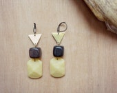 Eden - Special price - gypsy boho vintage buttons triangles earrings