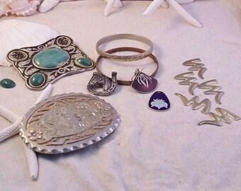 DESTASH Western Belt Buckles Plus More ~ Lot for Restoration DIY Jewelry Crafts and More