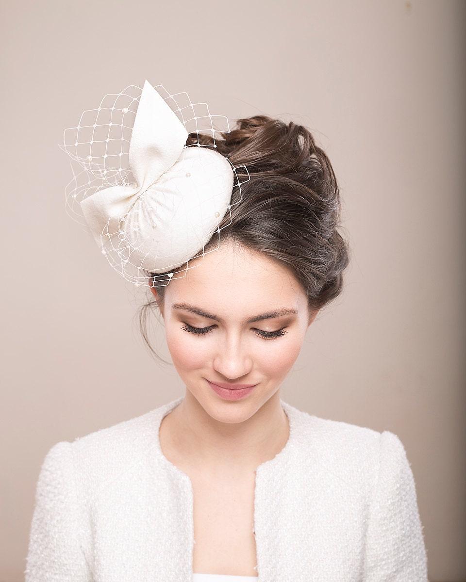 Bridal Fur Felt Pillbox With Veil Bridal Hat With Birdcage