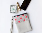Hot Pink Polka Dot Wristlet Pouch, iPhone Case Handmade Leather and Canvas Polka Dot Wallet, Pink Mobile Phone Wallet Purse