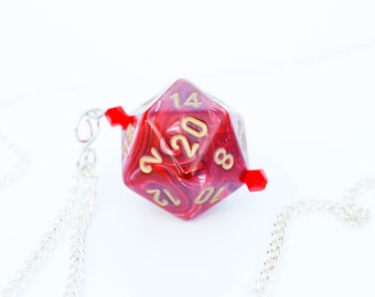 Red and White Swirl D20 Dice Necklace - RPG, Nerd, Geekery, Dice Jewelry, Pearl