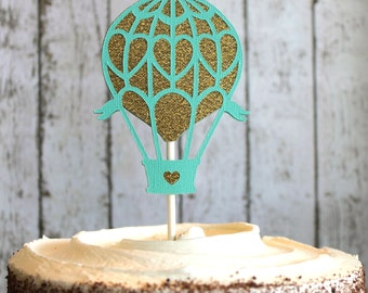Hot Air Balloon Cake Topper in Gold and Mint