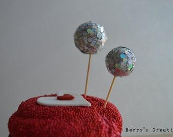 Silver Disco Ball Cupcake Topper. 12 Pieces.