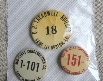 Vintage Contractor Pins or Buttons from Louisiana Set of Three