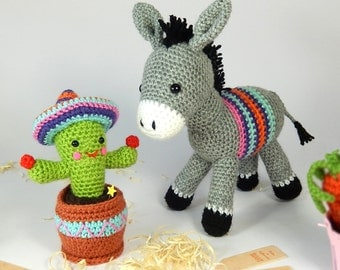 Dante the Donkey and Carlos the Cactus - Amigurumi Crochet Pattern