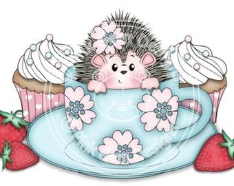 Digital Digi Stamp  Teatime Hedgy  - Birthday, Hedgehog, Birthday, Mothers Day