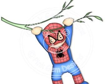 Digi Stamp  Spider Hero  Andy 2. Boys Birthday Cards, Party Invitations etc