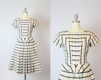 vintage 50s striped summer dress / 1950s striped cotton dress / rik rak embroidered dress / mini peplum dress / full skirt dress
