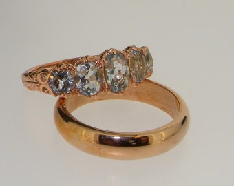 9K Rose Gold Natural 5 Aquamarine Gemstone Eternity Engagement Ring & Wedding Band Set - Made in England- Customize:9K,18K,Yellow,Rose,White