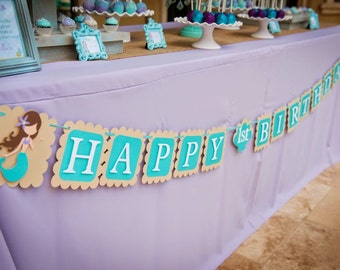 Mermaid Banner, Happy Birthday Banner, Mermaid Birthday, Mermaid Birthday Banner, Mermaid 1st Birthday,Aqua & Lavender Mermaid,Under the Sea