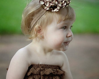 Brown Ivory Polka Dot Fabric Flower Puff Headband - Newborn Baby Hairbow Poof - Little Girls Hair Bow - Fall, Autumn, or Winter Bow