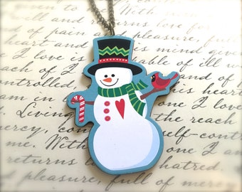 Decorated Snowman Necklace. Festive Christmas Jewelry. Holiday. Brass Vintage Style Chain. Wood Jewelry. Cute Whimsical. Under 15 Gifts.