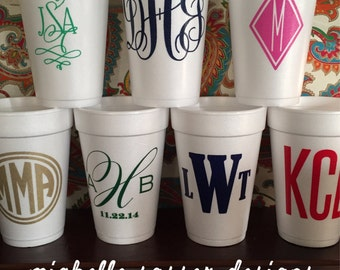 Custom Styrofoam Cups, Monogram, 16oz