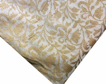 Beige and Gold Soft Jacquard Fabric by Yard - Polyester Jacquard Fabric By Yard