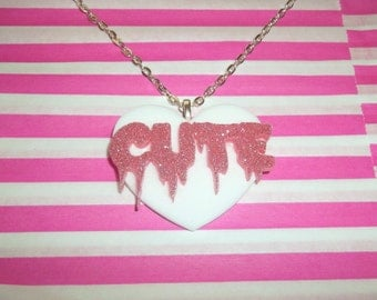 Dripping Cute Necklace, White Heart, Kawaii Jewelry Fairy Key Pastel Goth