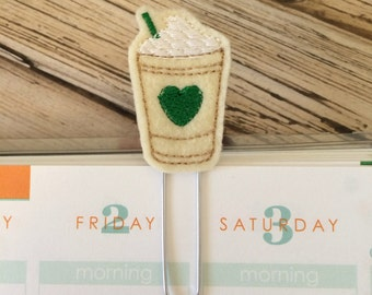 Coffee Cup Felt Planner Clip, Bookmark, Page Clip, Cute Paper Clips, Planner Accessories, Gifts for Readers - Green