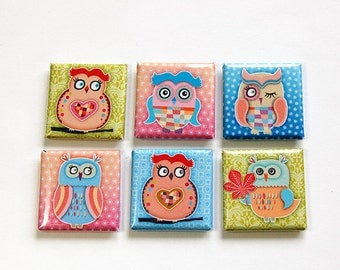 Owls, Square Magnets, Owl Magnets, Fridge Magnets, Kitchen Magnets, Magnets, button magnets, Bright colors, pink, blue, green (4610)