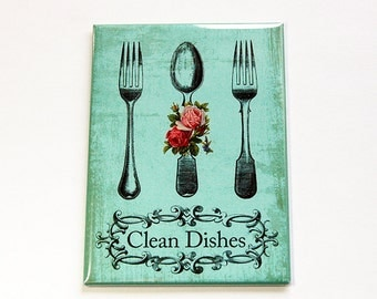 Dishwasher Magnet, Kitchen magnet, Clean Dishes, ACEO, Magnet, stocking stuffer, Green, Dirty Dishes, Magnet for Dishwasher (4639)