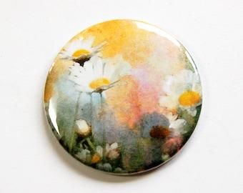 Flower mirror, Pocket mirror, Floral mirror, Purse mirror, glass mirror, mirror, mirror for purse, yellow, daisy, gift for her (4664)
