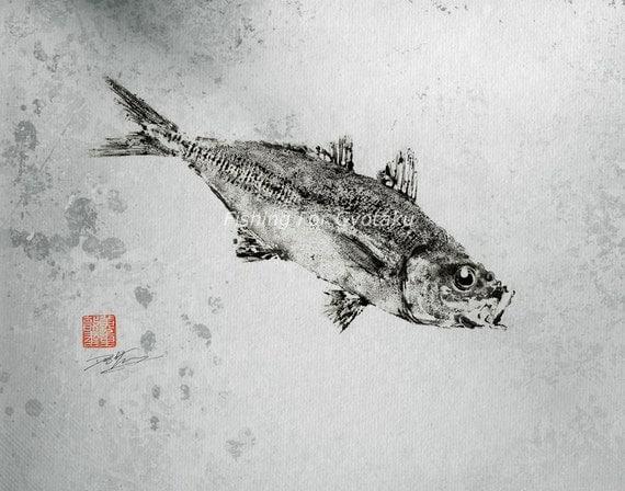 GYOTAKU print - traditional Japanese fish art - HORSE MACKEREL (Aji) by dowaito