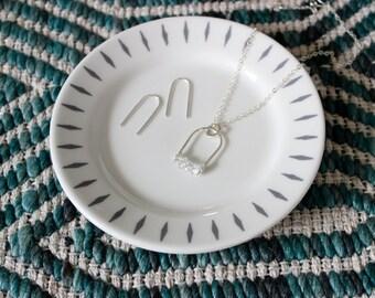 Arch Necklace, Herkimer Diamond Necklace, Simple Necklace, Crystal Quartz Necklace