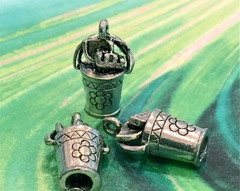 Pale w/ Gardening Tools - 4 pieces-(Antique Pewter Silver Finish)