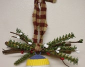 Snowman Jingle Bell Ornament, Rustic Country Tree Decorations, Door Knob or Peg Accent