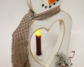 Snowman with Heart Cut Out , Snowman Battery Operated Candle Lamp, Primitive Country Winter Holiday Accents