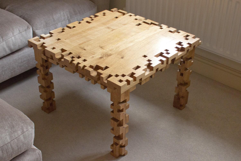 Coffee Table 8 Bit Pixel Solid Oak Furniture By Ryondesign