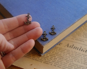 20 pcs Tiny Antique Bronze Nautical Anchor Rope Charms 19mm (BC2473)