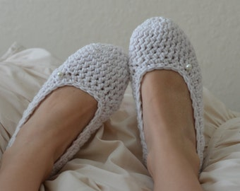 Linen Womens Crochet Slippers -house shoes
