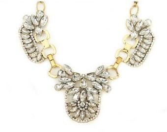 Ice Queen Crystal statement gold necklace