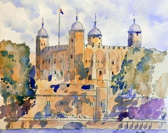 Tower of London - print from an original pen and wash painting by John Menage size A3