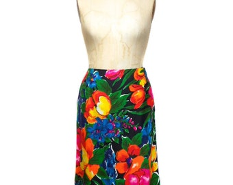 vintage 1970s floral skirt / Personal by Leslie Fay / tropical floral / cotton / spring summer / women's vintage skirt / size medium