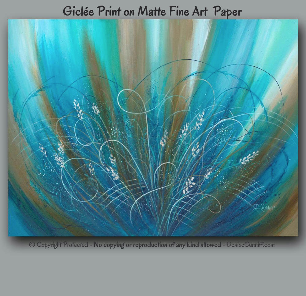 abstract floral painting giclee print teal turquoise blue