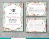 Bridal Tea Party Shower Invitation - Recipe Card - Advice Card - Tea Party Package - Shabby Chic - Vintage - Printable DIY - Digital