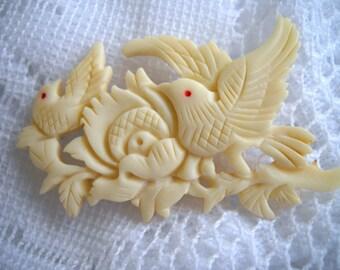 Hand Carved Bone Brooch, Victorian Carved Bird Brooch, Vintage Ornate Bird Brooch/Pin, Hand Carved Jewelry, Bird Lover