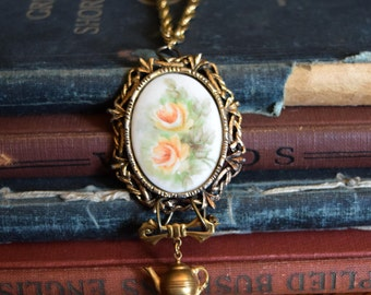 Alice in Wonderland, Vintage Cameo with Teapot charm, Upcycled Jewelry, Victorian Jewelry, Rose Jewelry, Fall Jewelry, Teapot Necklace,