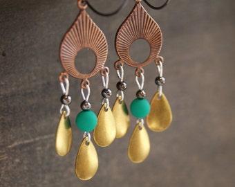 Art Deco Earrings Moroccan Earrings Art Deco Jewelry Vintage Moroccan Earrings Geometric Jewelry Vintage Chandelier Earrings Bohemian Style