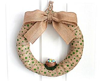 Spring Burlap Wreath - Easter Wreath  - Green Polka Dot Burlap Wreath with Basket of Eggs and Burlap Bow - 14-Inch Wreath Wreath