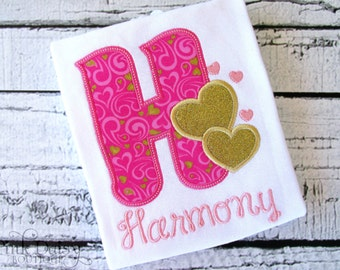 Initial Shirt. Hot Pink and Gold Personalized Embroidered Appliquéd Valentine's Day Shirt. Sparkle Gold Glitter. Hearts. Love.