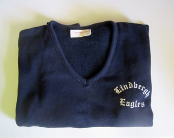 Vintage School Sweater Cheerleader Pep Club 1977 Lindbergh High School Pullover V Neck Womens Sports Retro School Memorabilia Navy Blue