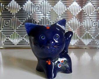 Vintage Cat Ceramic Bank Kitty Piggy Bank Blue Kitten Ceramic with Rubber Stopper Retro Blue Cat Bank