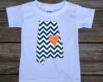 Alabama Navy Orange Baby Toddler Children Kids Love Boy Girl T-shirt or Bodysuit - Your Choice of Any State and Colors