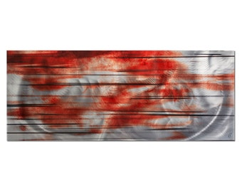 "Abstract Metal Wall Art ""Interlude"" - Black, Silver, Grey/White, Red - Large Modern Painting - Contemporary Urban Design"