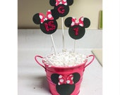 Minnie Mouse Centerpiece - Minnie Birthday Party -Table Decoration- Pink polka dots- Pink Glitter- Set of 3 Sticks with Base