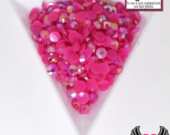 200 pcs 5mm AB HoT PINK RHINESTONES Flatback Great Quality / Decoden Crystal Phone Deco