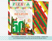No time for a Siesta, you are invited to a Fiesta birthday party, 30th, 40th, 50th, Front and Back design, 5x7 by The Silly Nilly Studio