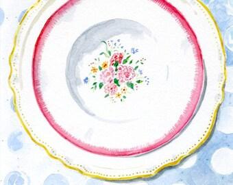 Original Watercolor Painting --Wall Art -  Vintage Plates --Spring  Flowers
