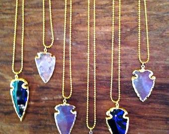Stone arrowhead necklace